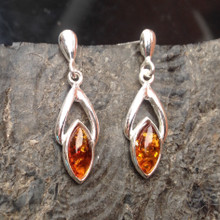 Baltic amber and silver marquise drop earrings