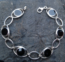 Whitby Jet and 925 sterling silver round stone bracelet