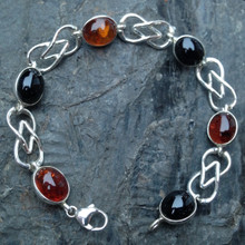Whitby Jet, Baltic Amber and 925 sterling silver Celtic Bracelet