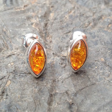 Cognac amber and silver marquise stud earrings