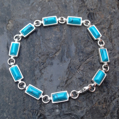 Blue turquoise and 925 sterling silver multistone ingot bracelet