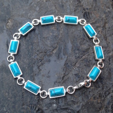 Blue Turquoise and 925 sterling silver multistone oblong bracelet