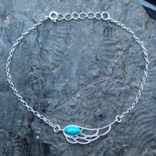 Turquoise and sterling silver angel wing charm bracelet