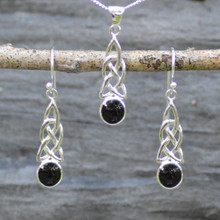 Celtic Whitby Jet matching pendant and earring set
