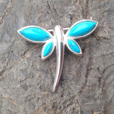Turquoise and sterling silver dragonfly multistone brooch