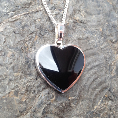 Large Whitby Jet and 925 sterling silver heart pendant