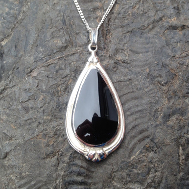 Large Whitby Jet and 925 sterling silver teardrop pendant