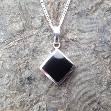 Whitby Jet and 925 sterling silver diamond shaped necklace