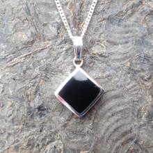 Whitby Jet and 925 sterling silver square necklace