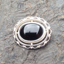 Whitby Jet and sterling silver Oval Frill and Bead Brooch