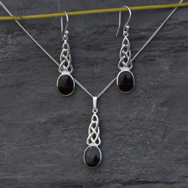 Whitby Jet Celtic Pendant and earrings set