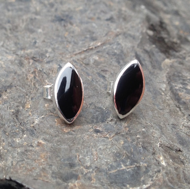 Whitby Jet and sterling silver marquise stud earrings