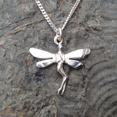 Sterling silver fairy pendant on silver curb chain