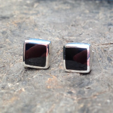 Whitby Jet and sterling silver square stud earrings