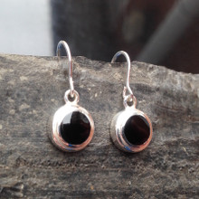 Small round Whitby Jet and 925 silver drop earrings