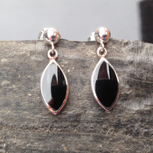Marquise Whitby Jet and sterling silver drop earrings