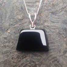 Whitby Jet Freeform Pendant on a sterling silver chain
