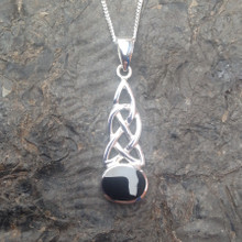 Whitby Jet Celtic Knot Pendant on sterling silver chain