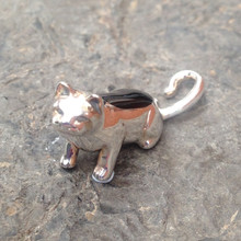 Whitby Jet and Sterling Silver Cat Figurine