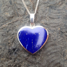 Hand crafted deep blue Lapis Lazuli and sterling silver heart pendant