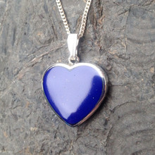 Large Lapis Lazuli and 925 silver heart necklace