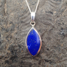 Blue natural Lapis Lazuli and 925 Sterling Silver Modern Marquise Pendant