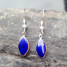 Lapis Lazuli and 925 Sterling Silver Marquise Drop Earrings