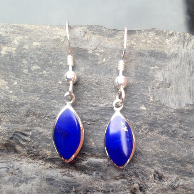 Blue Lapis Lazuli and 925 Sterling Silver Marquise Drop Earrings