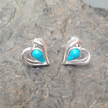 Blue Turquoise and Sterling Silver Open Heart Stud Earrings
