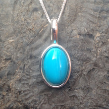 Turquoise and Sterling Silver Oval Cabochon Pendant