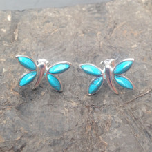 Turquoise and Sterling Silver Butterfly Multi stone Stud Earrings