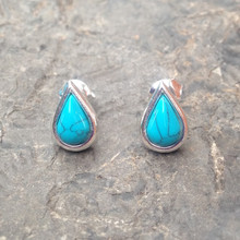 Blue Turquoise and 925 sterling silver Stud Earrings
