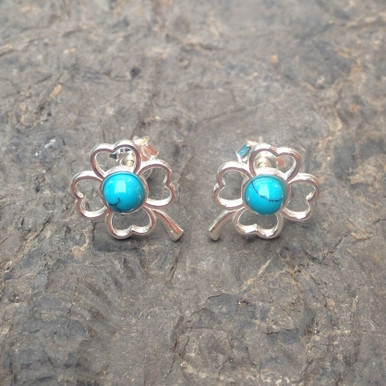 Blue Turquoise and Sterling Silver Four Leaf Clover Stud Earrings