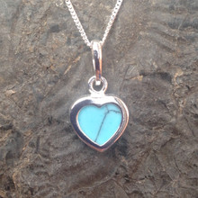 Small Blue Turquoise and Sterling Silver Heart Pendant