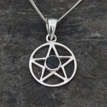 Sterling silver star necklace with round Whitby Jet stone