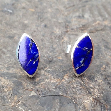 Lapis Lazuli and Sterling Silver Marquise Stud Earrings
