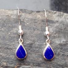 Blue Lapis Lazuli and 925 Sterling Silver Teardrop drop Earrings