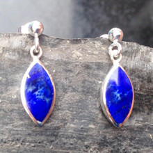 Blue Lapis Lazuli and Sterling Silver Marquise Drop Earrings