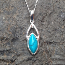 Turquoise and Sterling Silver Celtic Marquise Pendant