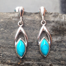 Turquoise and 925 Sterling Silver Marquise Drop Earrings