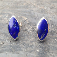 Large handmade blue Lapis Lazuli and Sterling Silver Marquise Stud Earrings