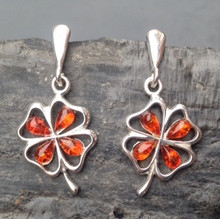 Cognac amber and sterling silver four leaf clover drop earrings
