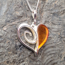 Cognac amber and sterling silver large heart pendant
