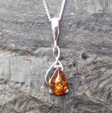 Sterling silver necklace with amber teardrop gemstone