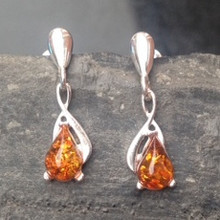 Sterling silver earrings with cognac amber teardrop stones