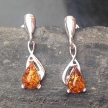 Sterling silver earrings with cognac amber teardrop stones
