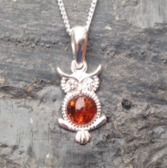 Sterling silver owl pendant with cognac amber
