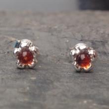 Little sterling silver flower stud earrings with cognac amber