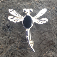 Small 925 sterling silver dragonfly pin brooch with oval Whitby Jet stone