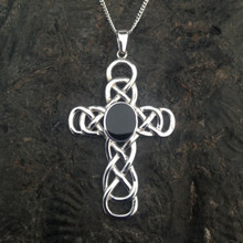 Large Celtic sterling silver cross pendant with Whitby Jet stone